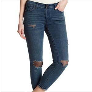 Free People Distressed Fishnet Patchwork Jeans 24